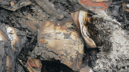 Burnt and charred documents safe at the prosecutor's office in