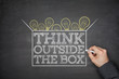 Think outside the box concept on blackboard