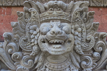 Traditional sculpture of the Bali island