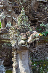 Ancient sculpture in the temple, Bali