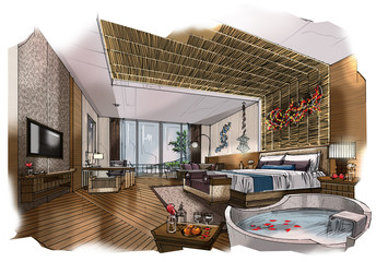 sketch design bedroom,interior design,hotel