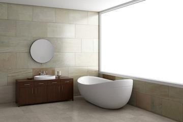 Badezimmer mit grossem fenster