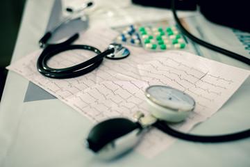 Stethoscope, pills and ECG