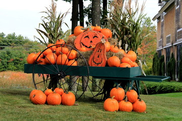 Bright orange pumpkins in green wagon