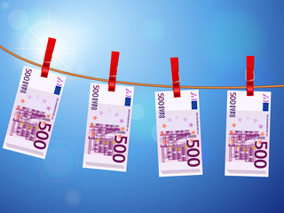 five hundred euro banknotes on clothesline