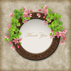 Vector Floral Thank you Card