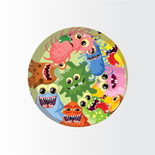 Mignon monstres de dessins animés et les bactéries fond