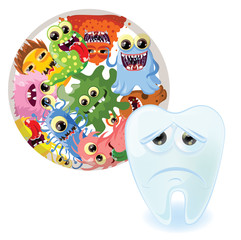 Мультфильм мило монстров и бактерии, фоновые