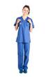 Full length nurse on white background