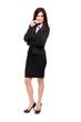 Full length businesswoman isolated on white