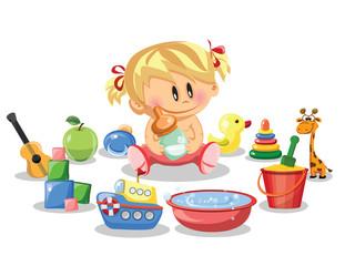 Векторная иллюстрация девочка и детских аксессуаров