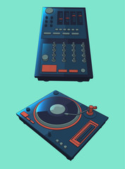 dark blue digital turntable vector illustration