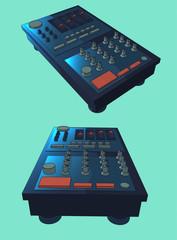 dark blue digital turntable vector illustration