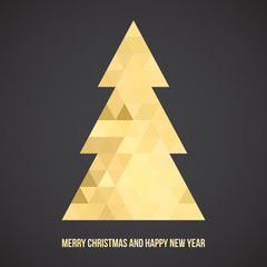 Gold christmas tree, triangle pattern