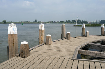 Jetty in the Waal at Woudrichem, Netherlands.