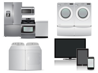 Tv, tablet, phone, washer, dryer, kitchen appliance package