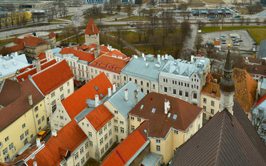 View of Old City of  Tallinn in the spring. Estonia.