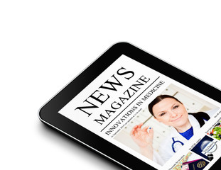 tablet with nwes magazine page isolated over white