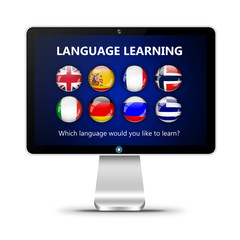 computer screen with language learning page isolated over white