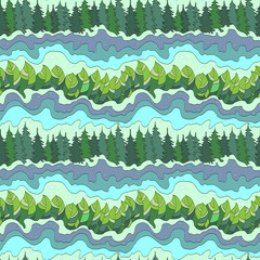 summer forest and river seamless pattern