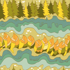 autumn forest and river seamless pattern