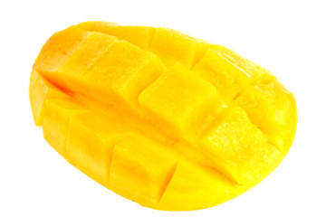 Sliced mango isolated on white background