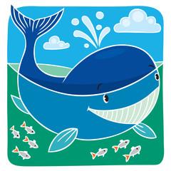 Children vector illustration of little whale.