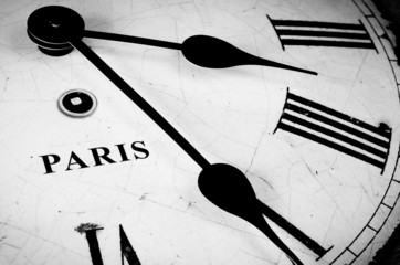 Paris black and white clock face