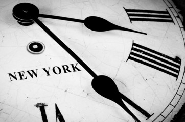 New York black and white clock face