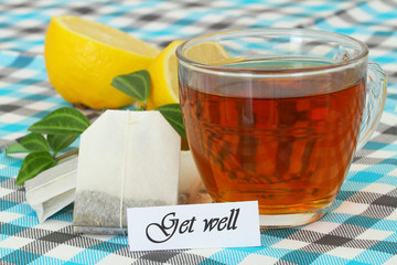 Get well card with cup of tea and lemon