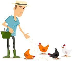 jardinier et poules
