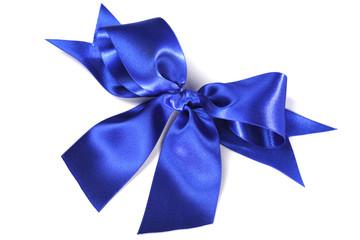 Blue satin bow ribbon on white