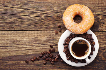 Donut with sugar and coffee