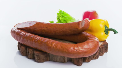 Sausage with hot peppers on white background