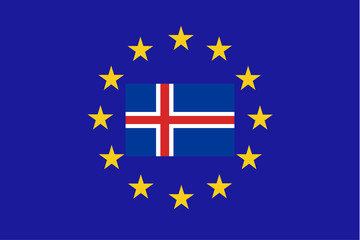 Vector flag of EU with Iceland
