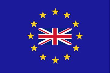 Vector flag of EU with United Kingdom