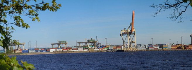 Panoramic view of container terminal