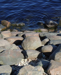 Boulders and water