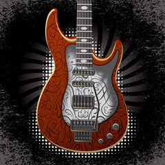 vector banner with acoustic guitar on black background
