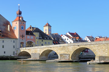Stone Bridge over Danube in Regensburg, Germany