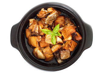 Vietnamese caramelized fish in clay pot - Ca Kho To - top view