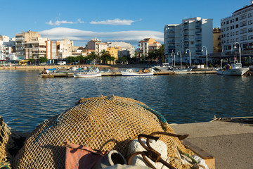 typical mediterranean town from fishing port. L'Ampolla