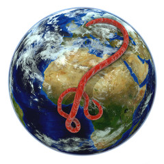 Ebola Virus über der Weltkugel, rot