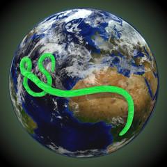 Ebola Virus über der Weltkugel,  grün
