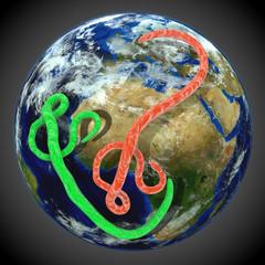 Ebola Virus über der Weltkugel, rot und grün