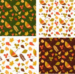 Four autumn seamless patterns with seasonal leafs and objects