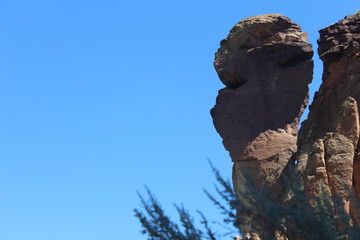 Rock spire called The Monkey at Smith rock Oregon