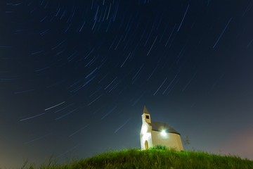 Startrails and church