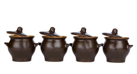Pots with lids open