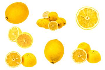 Set of fresh lemon images